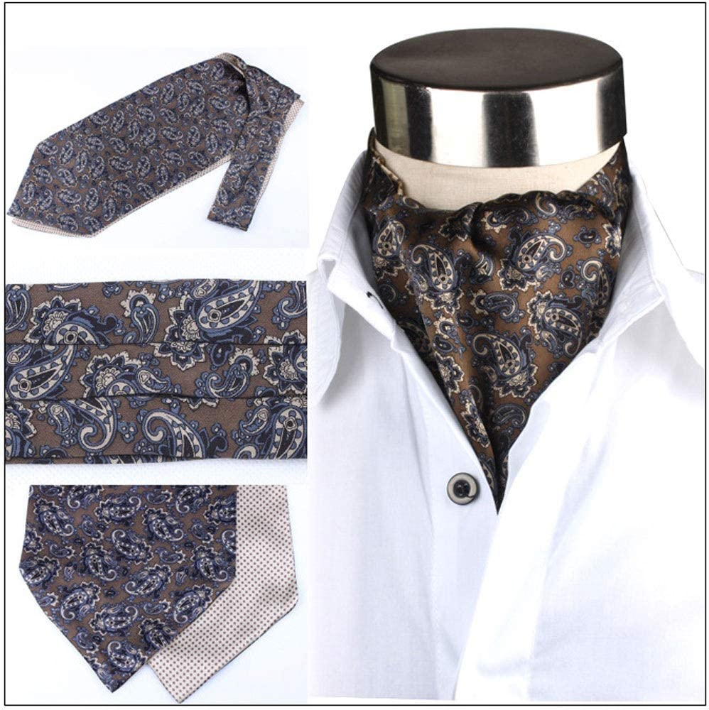 Color : D YLQC Mens Fashion 100/% Silk Classic Cravat Paisley Floral Jacquard Woven Self Tie Luxury Double-Sided Ascot