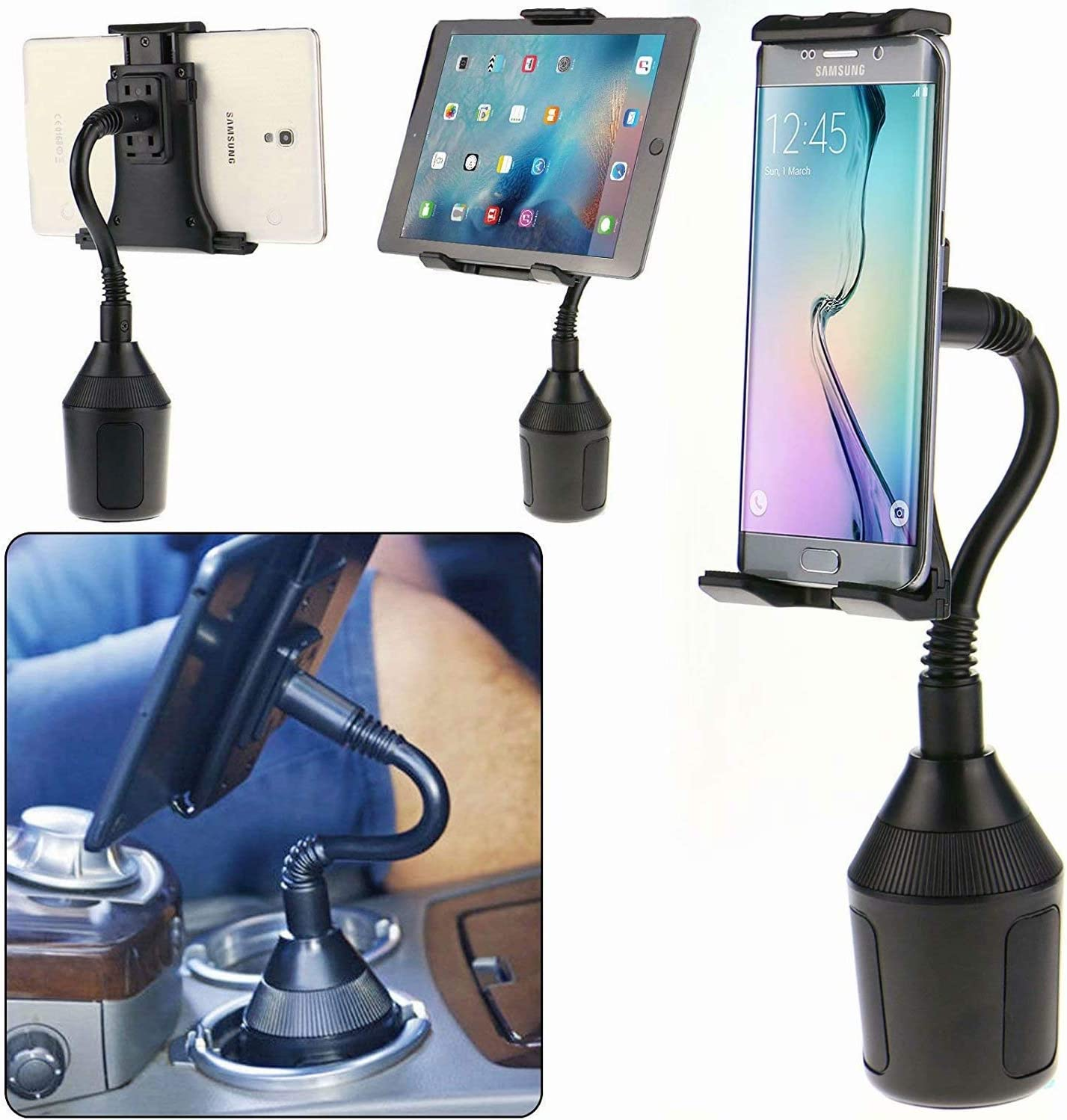 View 1 J4 G60 G8 Play E6 Play Smartphone Car Cup Holder Mount Phone Cradle Fit for Motorola Razr One Hyper One Action Z4 Moto G8 Plus E6 C5 Plus One Macro G70 BLU J6 E6 Plus One Zoom