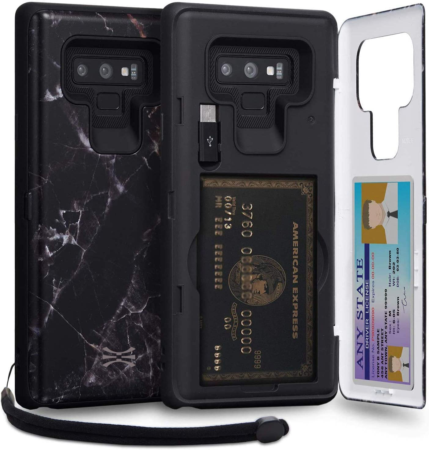 Mirror /& USB Adapter for Samsung Galaxy S9 Black Marble TORU CX PRO Galaxy S9 Wallet Case Pattern with Hidden Credit Card Holder ID Slot Hard Cover
