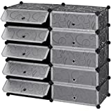 Styleys Shoe Rack with Cover for Home/Office Wardrobe Cube Organizer Black (10 Cube)