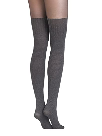 fd2100f2a7127 Conte elegant Demi Womens Tights with Sheer Top and Thigh High Opaque Knit  Stockings,Black