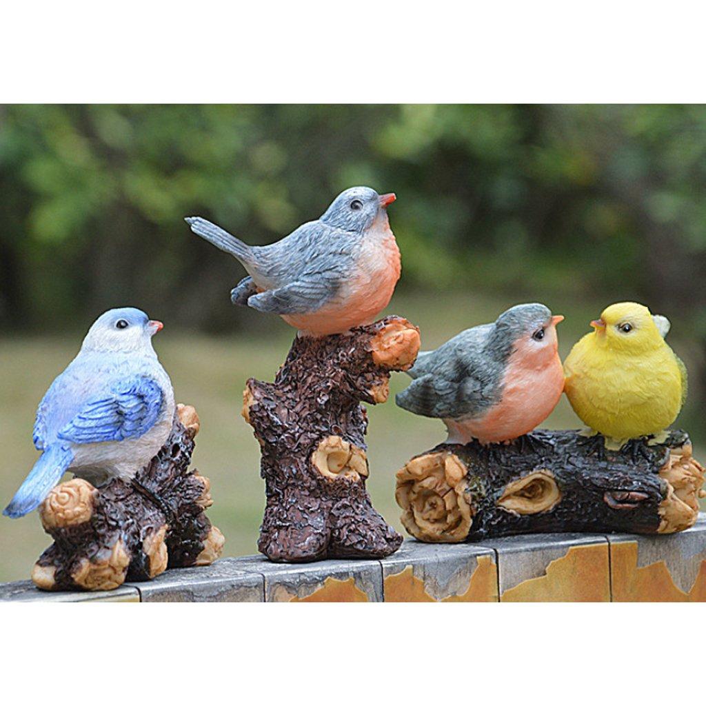 D/écoration De Balcon Int/érieur LOVIVER 4pcs R/ésine Oiseau Animal Ornements