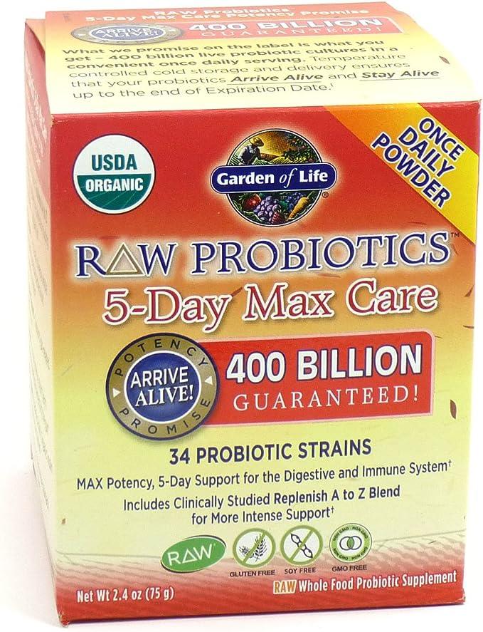 Amazon Com Garden Of Life Raw Probiotics 5 Day Max Care 34 Probiotic Strains 2 4 Oz By Garden Of Life Health Personal Care