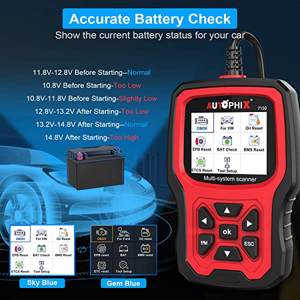 Autophix 7150 is different from Ancel FD500 and FD700 with a separate color scheme and display.