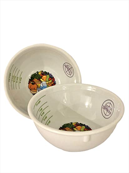 Amazon Com Portion Control Bowl Porcelain Set Of 2 For Weight Loss Diabetes And Healthier Diets Educational Visual Tool For Adults And Children By Dietitian Amanda Clark Health Personal Care