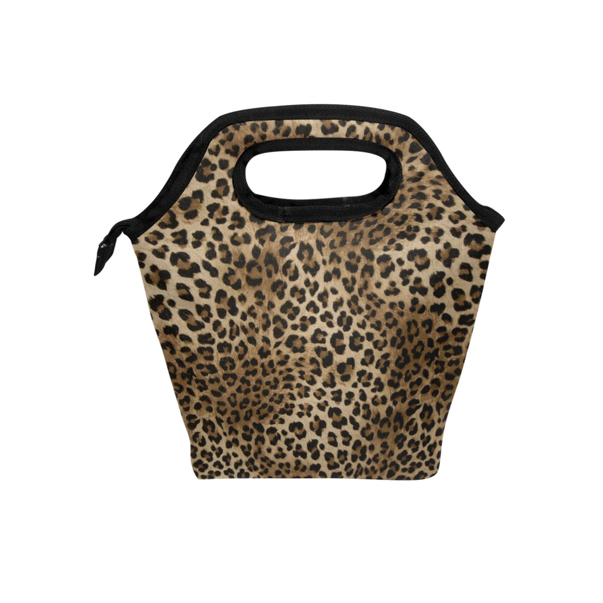 Naanle Animal Print Insulated Zipper Lunch Bag Cooler Tote Bag for Adult Teens Kids Girls Boys Men Women, Leopard Print Lunch Boxes Lunchboxes Meal Prep Handbag for Outdoors School Office