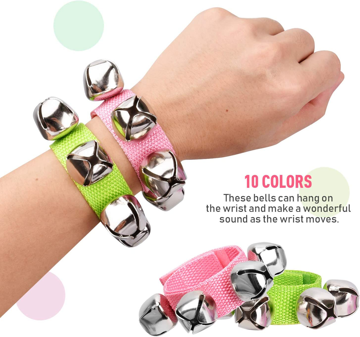 10 Colors 20 Pcs Wrist Band Jingle Bells Instrument Percussion Musical Orchestra Rattles Party Favors Toys Wrist Bells /& Ankle Bells KTV Birthday Gifts Musical Rhythm Toys for Children