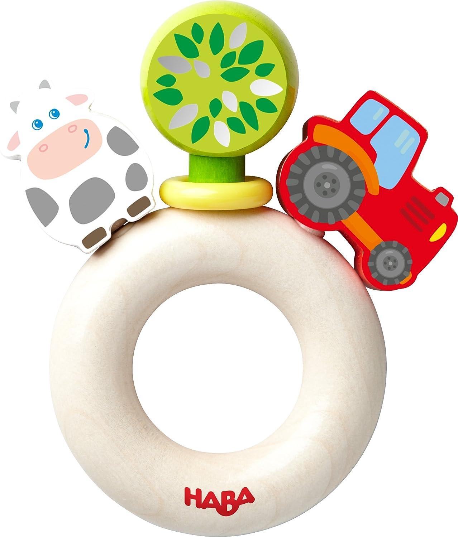 HABA 303915 - Greifling Bauernhof-Welt | Holzgreifling mit bunten Bauernhof-Figuren | Baby-Spielzeug ab 6 Monaten Habermaass GmbH Non Books Non Books / Spielzeug