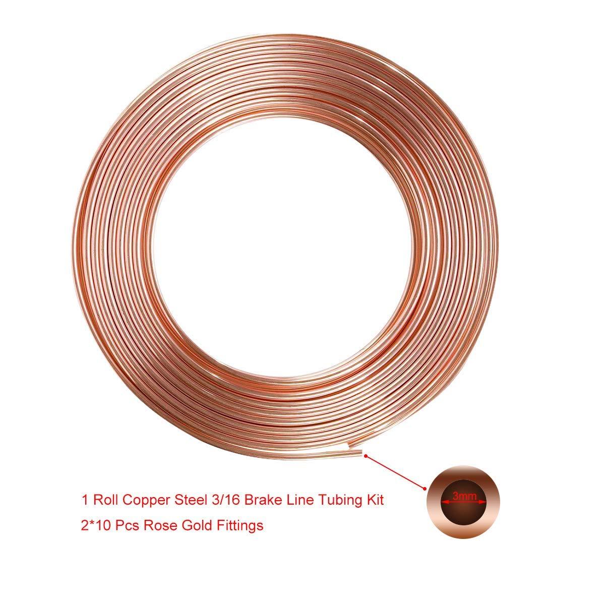 Sunwan Kit de tuyau de frein de voiture en acier avec rev/êtement en cuivre et 20 /écrous m/âles et femelles 6,35 cm