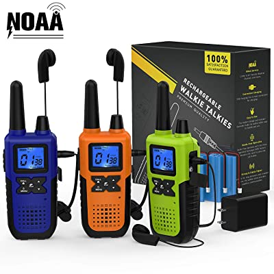 3 Long Range Walkie Talkies Rechargeable for Adults - NOAA FRS GMRS UHF 2 Way Radios Walkie Talkies - CB Long-distance 2way Walkie Talkies with Earpiece Mic Weather Alert USB Cable Charger(K10 Colors): Car Electronics