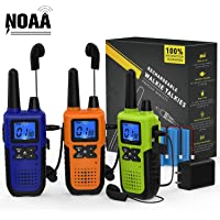 3 Long Range Walkie Talkies Rechargeable for Adults - NOAA FRS GMRS UHF 2 Way Radios Walkie Talkies - CB Long-distance…