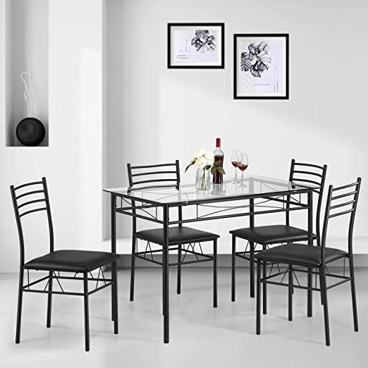 Kealive Dining Table Set with 4 Chairs Tempered Glass Top Kitchen Table Set  Rectangular Table Furniture, Metal Frame Modern Table Set for Dining Room,  ...