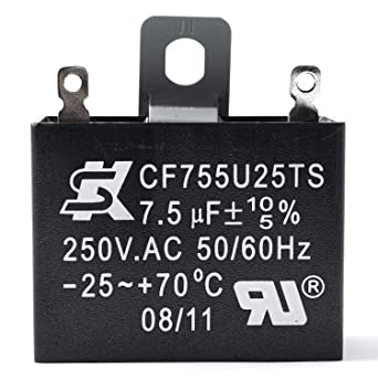 Amazon.com: JCM 2 Wire Ceiling Fan Capacitor 7.5uF 250VAC ... on wiring for sign, wiring for dishwasher, wiring for fluorescent lights, wiring for bathroom fan, wiring for home theater system, wiring for electric dryer, wiring for exhaust fan, wiring for range, wiring for fireplace, wiring for sauna, wiring for microwave oven, wiring for electric fan, wiring for pool, wiring for stove, wiring for garage, wiring for tv, wiring for cd player,