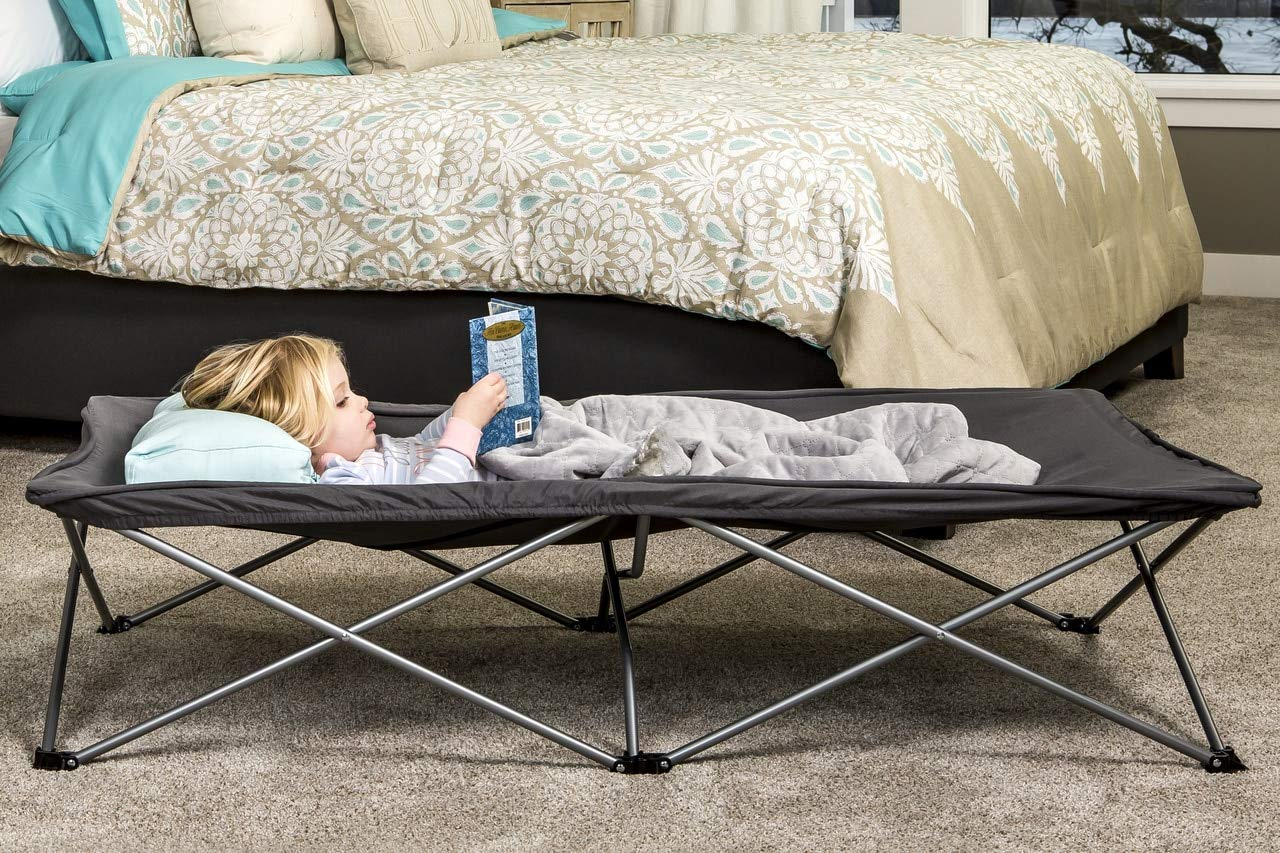 Regalo Gray Extra-Long My Cot Portable Toddler Bed