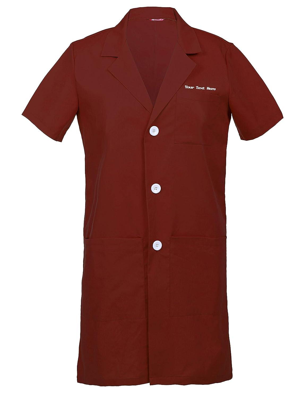 TAILORS Personalizzata Personalizzabile Ricamato Uomo Camice da Laboratorio Laboratorio Medico Abbigliamento da Lavoro Maniche Corte
