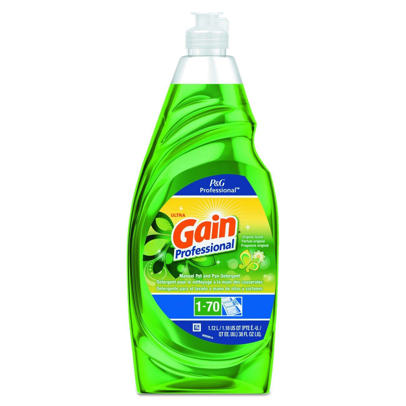 Gain 70740 Professional Manual Pot and Pan Dish Detergent, Original, 38 oz. Bottle Capacity