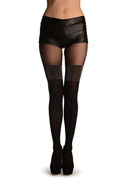 amazon com black faux stockings with silver lurex top black
