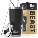 BEAST 40oz Black Tumbler - Stainless Steel Insulated Coffee Cup with Lid, 2 Straws, Brush & Gift Box by Greens Steel