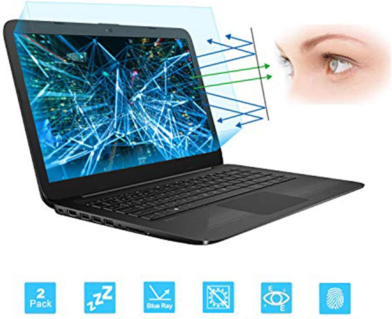 "2 PCS 14"" Laptop Anti Blue Light Anti Glare Screen Protector Compatible with HP Pavilion 14, HP ChromeBook 14, HP Stream 14, Acer Chromebook 14, Acer Aspire 14, ASUS VivoBook 14 Screen Protector"