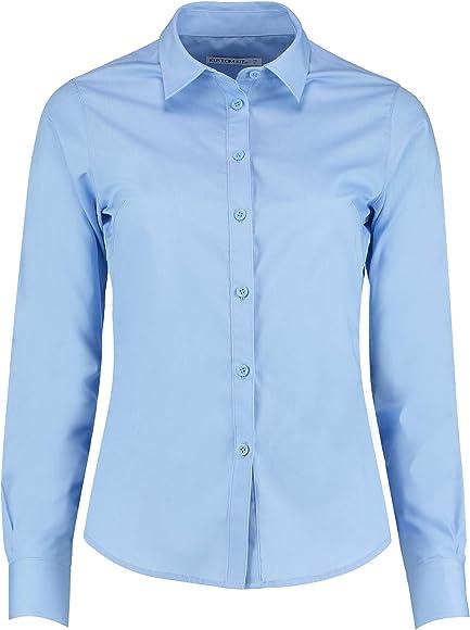 KUSTOM KIT - Camisa de popelín y Manga Larga para Mujer (34 EU) (Azul Claro): Amazon.es: Ropa y accesorios