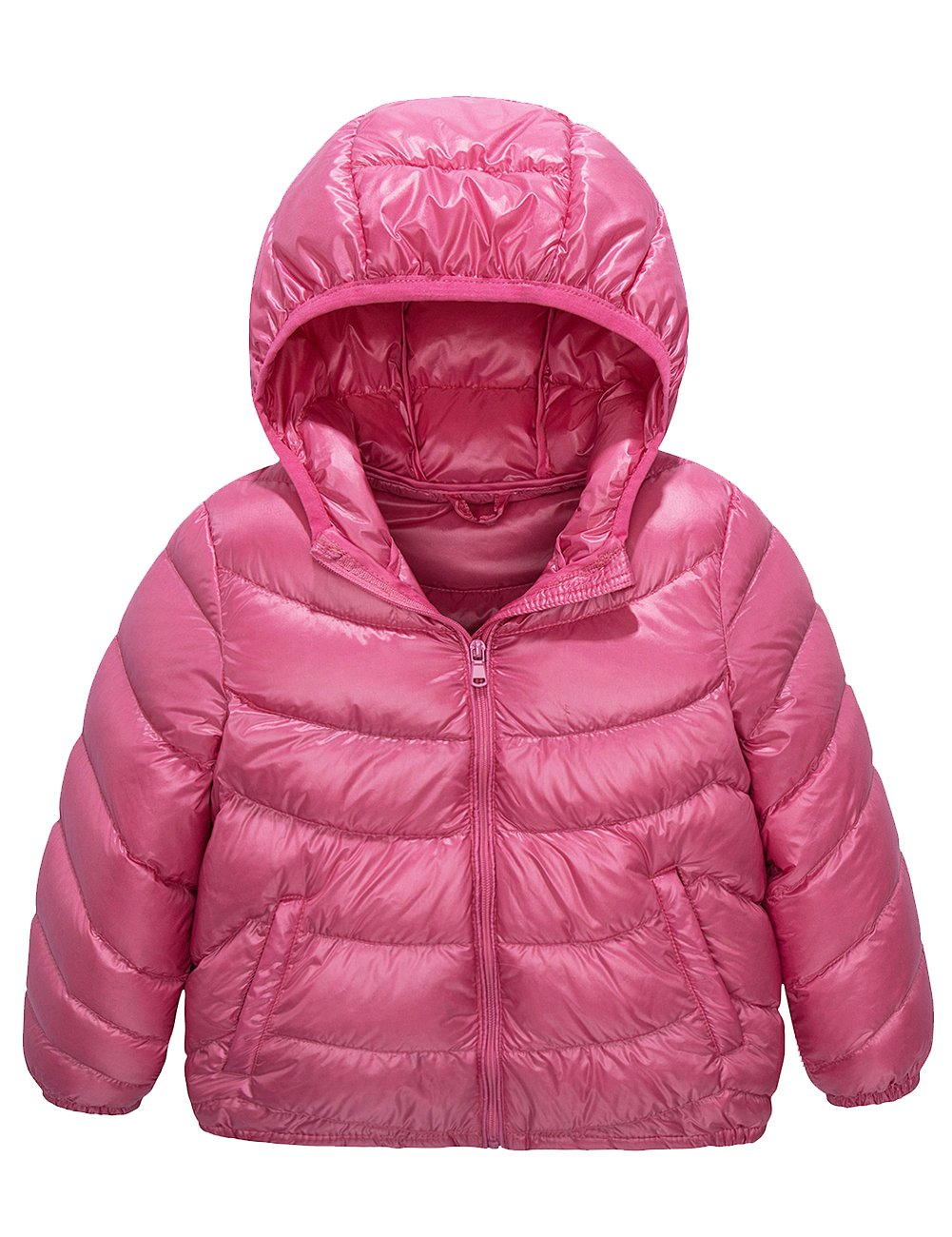 Spring&Gege Boys' Quilted Packable Hoodie Lightweight Puffer Jacket Windproof Outwear Children Warm Duck Down Coat for Boys and Girls Size 7-8 Years Pink
