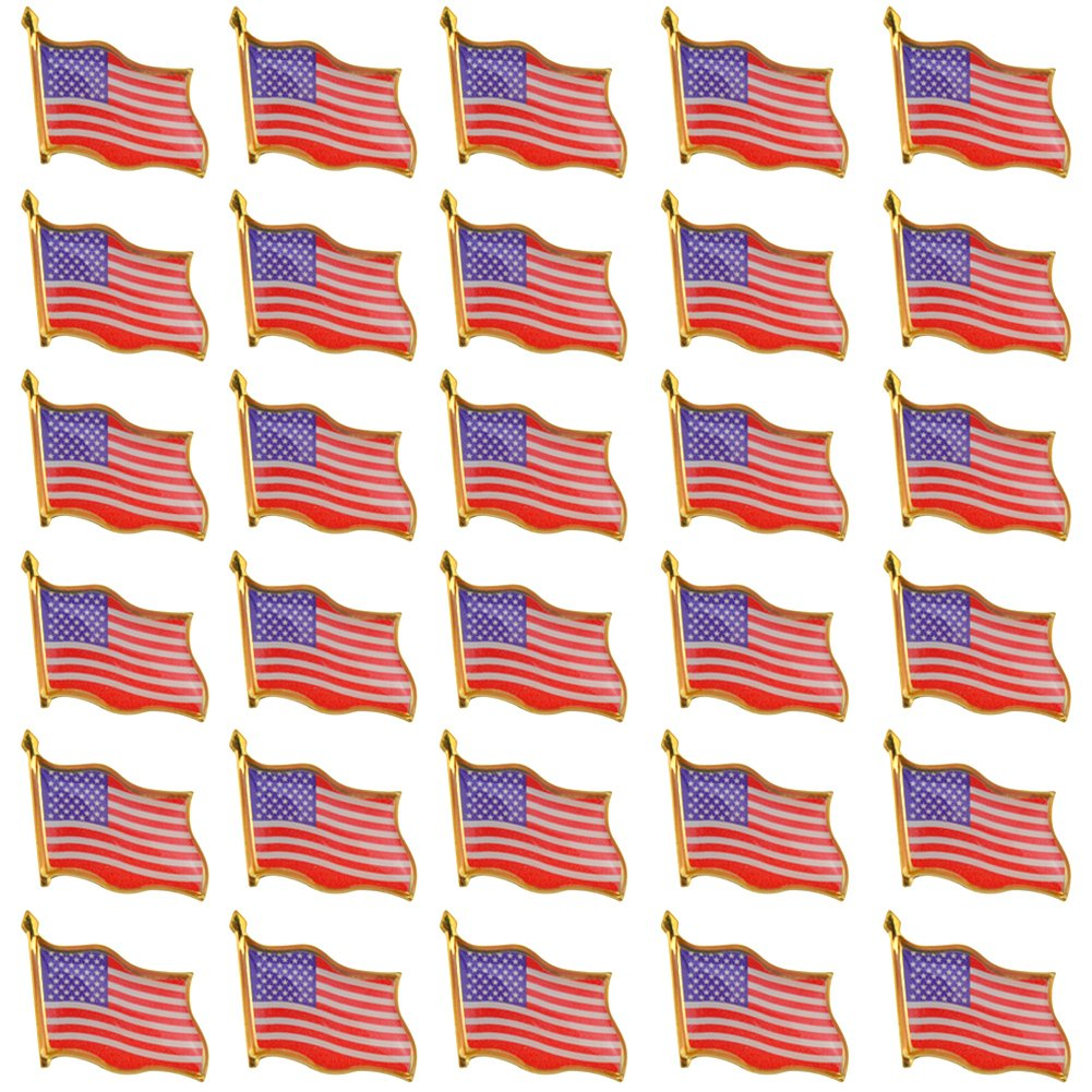 Rantanto 30 Pieces American Flag Lapel Pin Jewlery United States Waving Flag Pins (30 Pack)