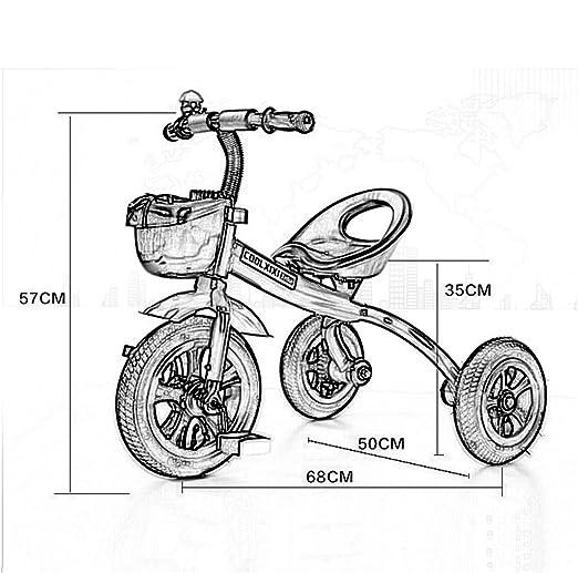 Triciclo de Moda Carruaje de bebé Bicicleta Niño Juguete Coche Rueda Inflable/Rueda de Bicicleta de plástico Adecuado para 1-2-3-4 años (Niño/niña) (Color ...