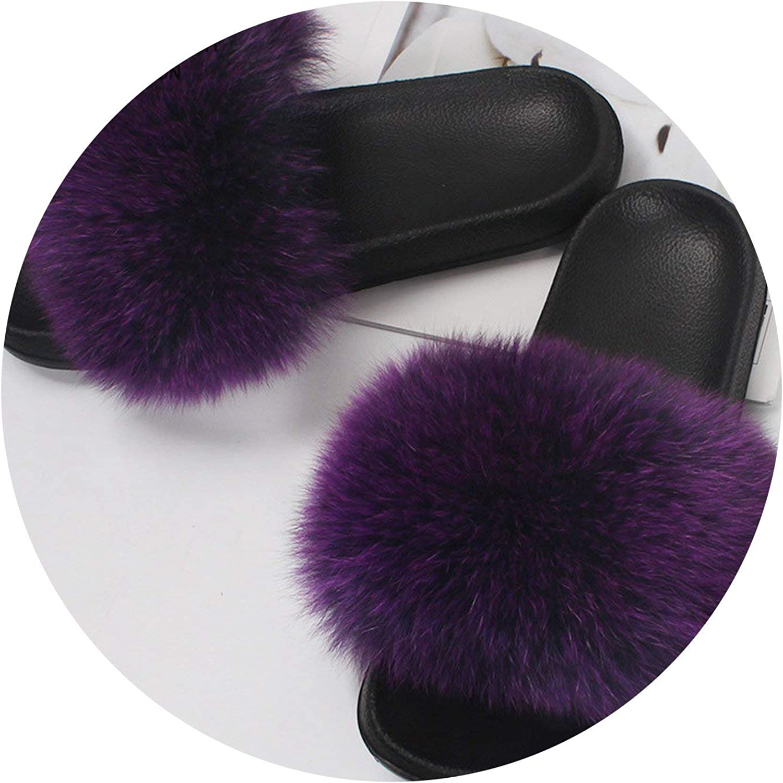 Lady Vintage Fox Fur Slippers Woman Summer Raccoon Hair Home Outdoor Plus Fur Hair Shoes,Purple,7