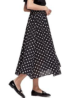 Henwerd Fashion Womens Skirts Casual Polka Polka Dot High Wasit Long Skirts