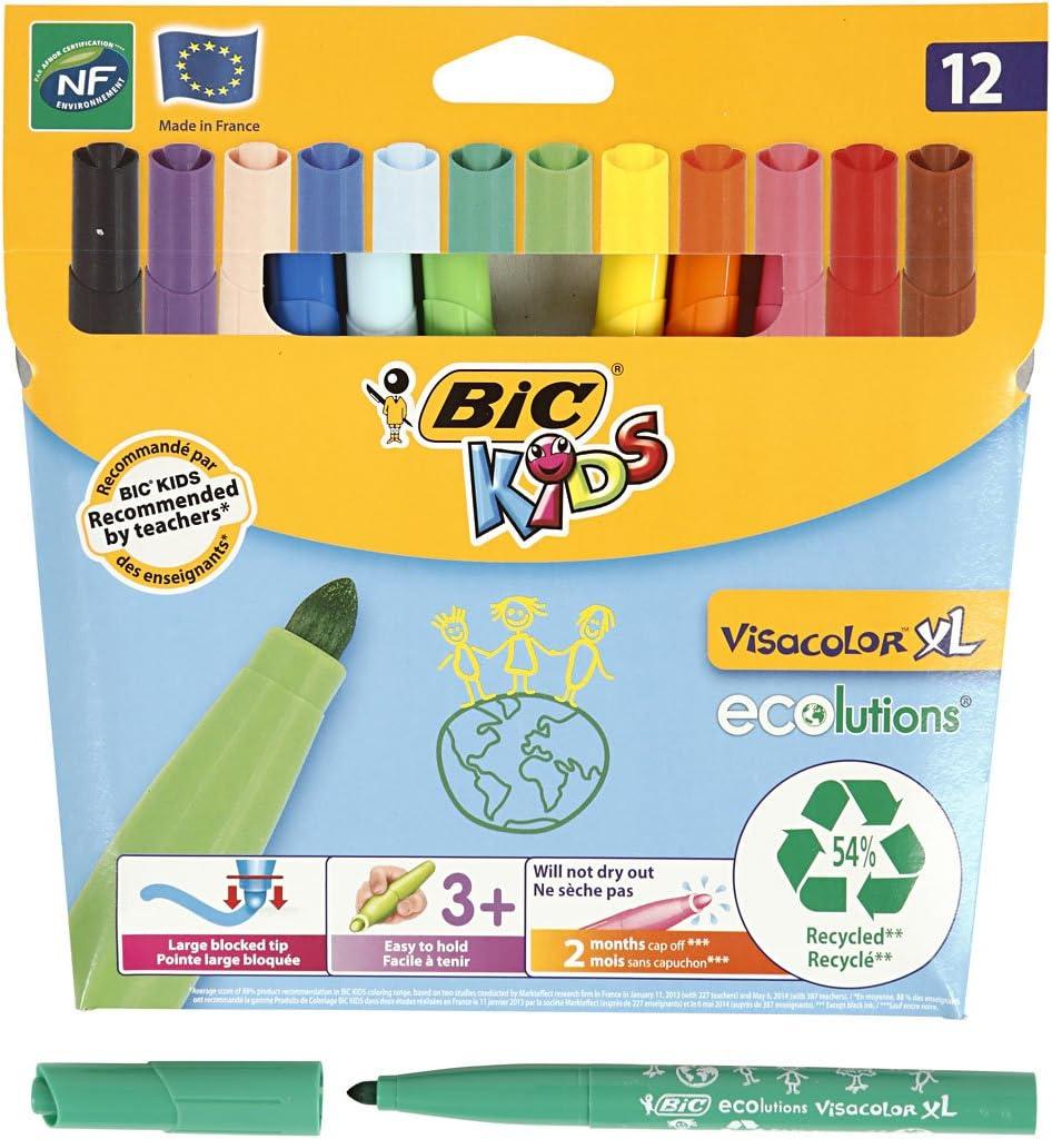BiC Kids Ecolutions Visa Color XL Felt Pens - Assorted (Pack of 12) - Bic 12 Rotuladores Visacolor XL: Amazon.es: Industria, empresas y ciencia