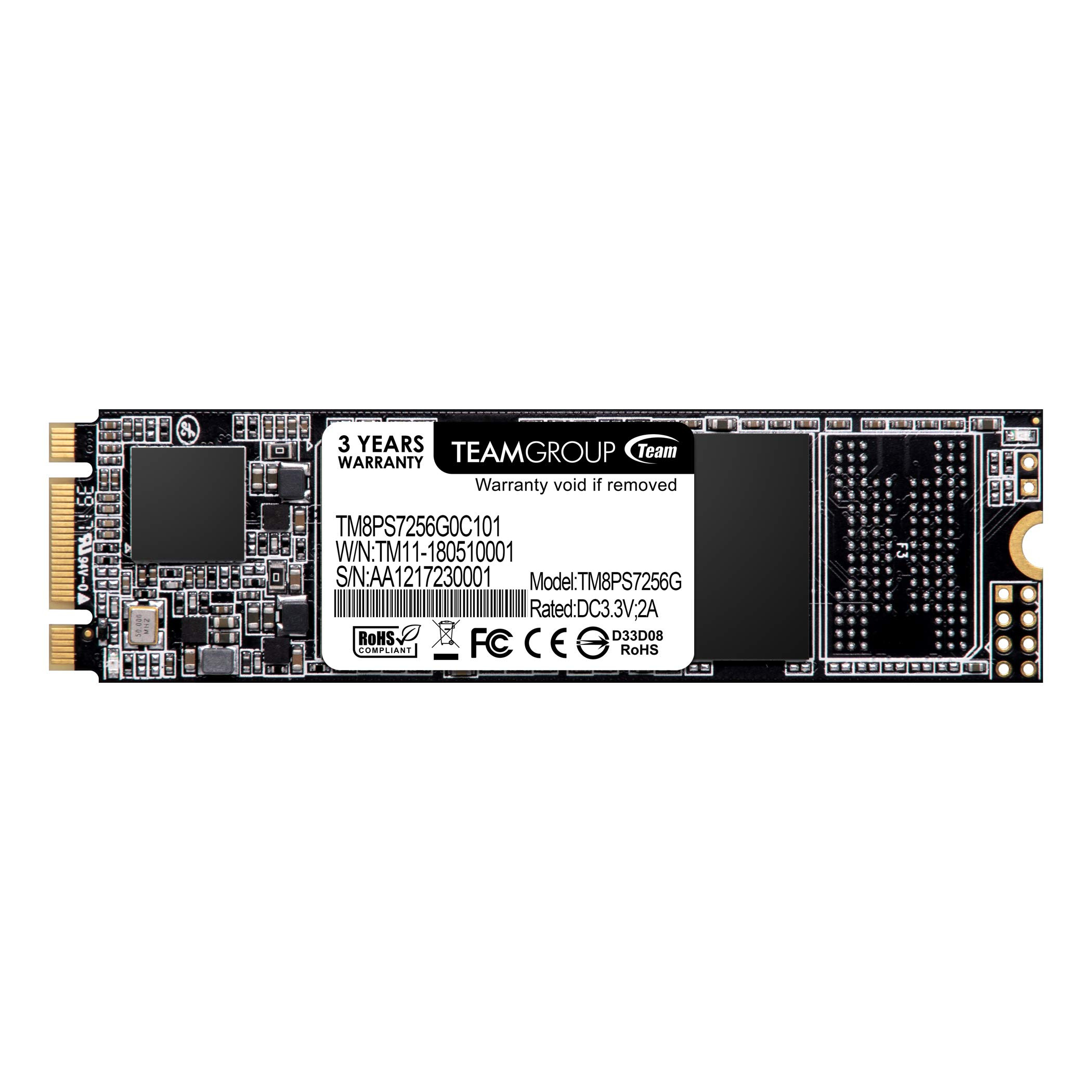 TEAMGROUP MS30 256GB SATA Rev. 3.0 (6Gb/s) M.2 Internal Solid State Drive SSD (Read/Write Speed up to 550/470 MB/s) TM8PS7256G0C101