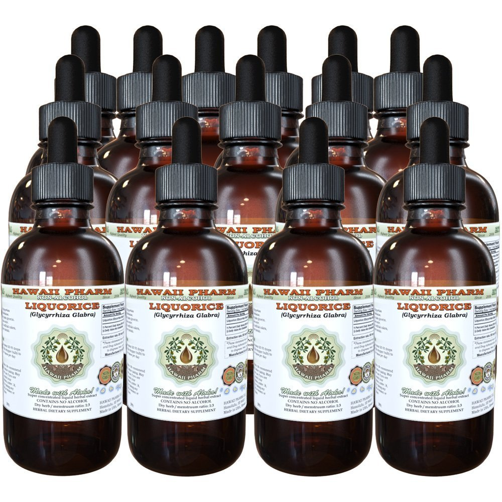 Liquorice Alcohol-FREE Liquid Extract, Organic Liquorice (Glycyrrhiza Glabra) Dried Root Glycerite Hawaii Pharm Natural Herbal Supplement 15x4 oz