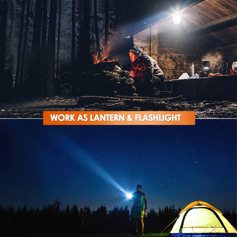 Odoland 5 Modos de iluminaci/ón para Senderismo Recargable con Linterna Resistente al Agua Linterna LED port/átil de 800 LM 3000 mAh Camping