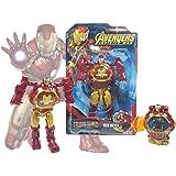 TENDERFEET Iron men Robot Watch for Kids Iron Man Robot Toy Convert to Digital Wrist Watch for Kids Avengers Robot Deformation Watch Iron Man Figures Plus Watch