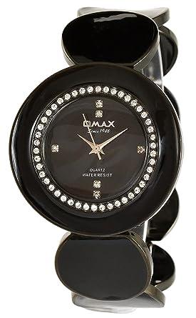 Damenuhren schwarz metall  Omax Damenuhr Schwarz Strass Analog Metall Armbanduhr Quarz Uhr ...