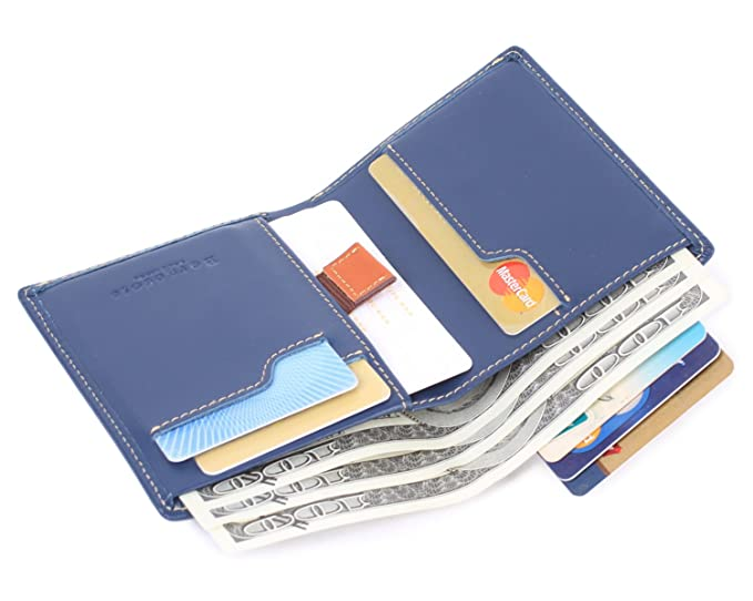 3eff6c8ed81fd Borgasets Mens RFID Blocking Bifold Wallet Small Credit Card Protector For  Men 100% Cowhide