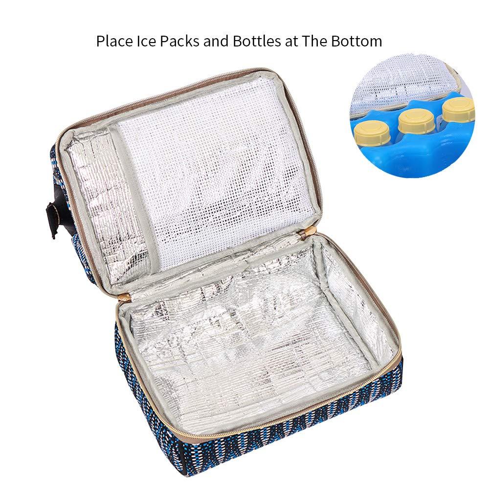 blu Borsa mini con zaino Tasche per borsa termica Borsa portatile con presa di ricarica USB per lavoro Madre ideale per viaggio come borsa per il pranzo Borsa per seni Adatto al tiralatte elettrico manuale o di piccole dimensioni
