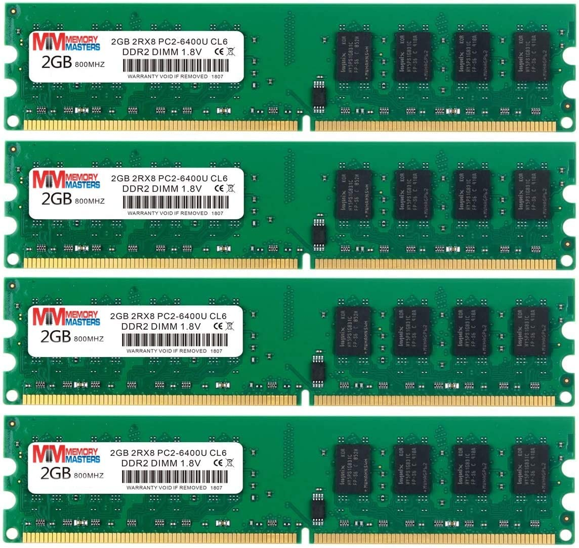 MemoryMasters DDR2 PC2-6400 PC2-6400U 800MHz, DDR2-800 2RX8 240-Pin DIMM Desktop Memory 8GB Kit (4x2GB)