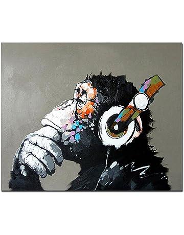Fokenzary dipinta a mano pittura a olio su tela pop art Cool ape ascoltare  musica cuffia 363bee80db8b
