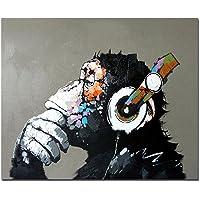 Fokenzary dipinta a mano pittura a olio su tela pop art Cool ape ascoltare musica cuffia con cornice pronta da appendere
