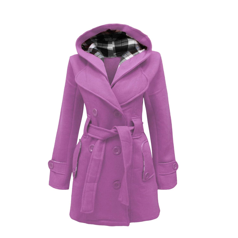 Cappotto da donna con cappuccio chiusura con bottoni e cintura taglie dalla 40 alla 52