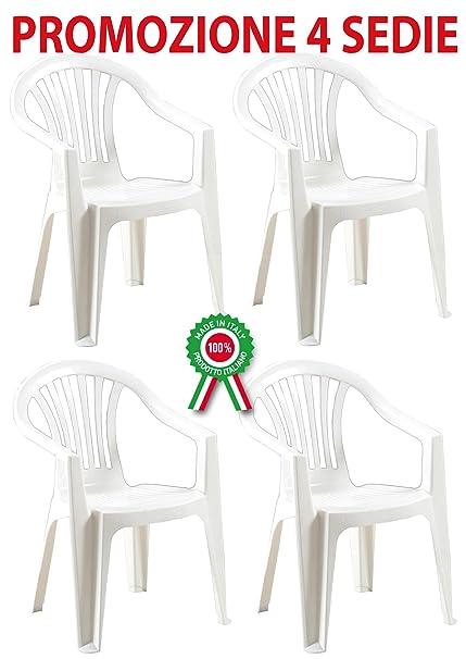 4 Pz Poltrona sedia Scilla in dura resina di plastica bianca ...