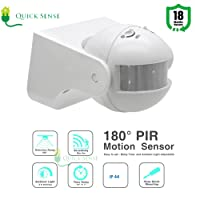 Quick sense Qs-09 180-degree Automatic Wall-Mount PIR Motion Sensor Switch with Light Sensor, 220V (White, Qs-09)