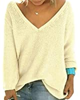 UGET Women's Casual Autumn V Neck Loose Knit Pullover Tops Sweater Jumper