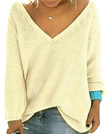b58e848183 UGET Women s Casual Autumn V Neck Loose Knit Pullover Tops Sweater Jumper  Asia S Beige