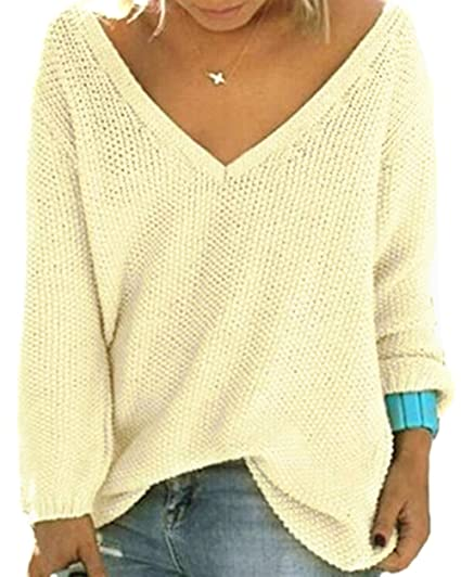 e20702c545f4a UGET Women s Casual Autumn V Neck Loose Knit Pullover Tops Sweater Jumper  Asia S Beige