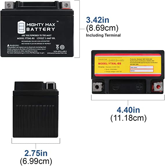 Batterie Yamaha YA50R Axis 3UG Bj 1997 YUASA YTX4L-BS AGM