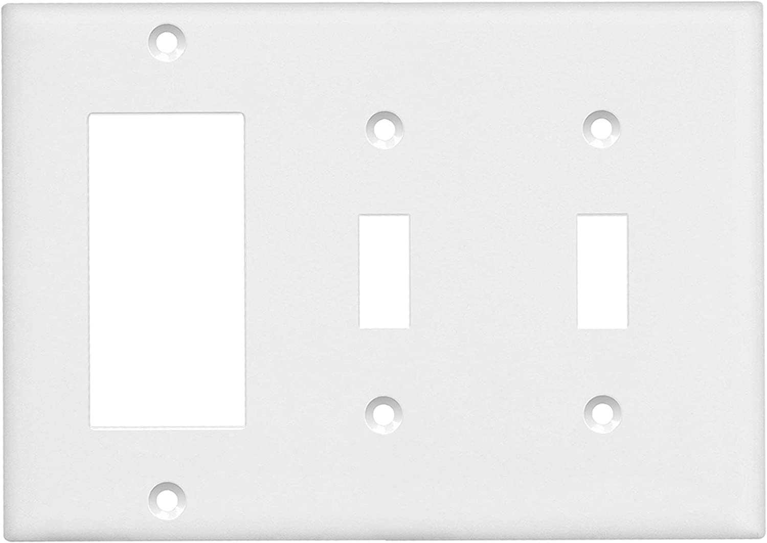 ENERLITES Combination Wall Plate (Double Toggle/Single Decorator Switch), Standard Size 3-Gang, Polycarbonate Thermoplasic, White 881231-W, Two One