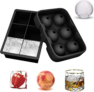 YSML Silicone Ice Cube Trays with Lid(Set of 2),Easy Release Food Grade Ice Ball Maker and Square Ice Cube Molds for Whiskey and Cocktails,Reusable and BPA Free (Black)
