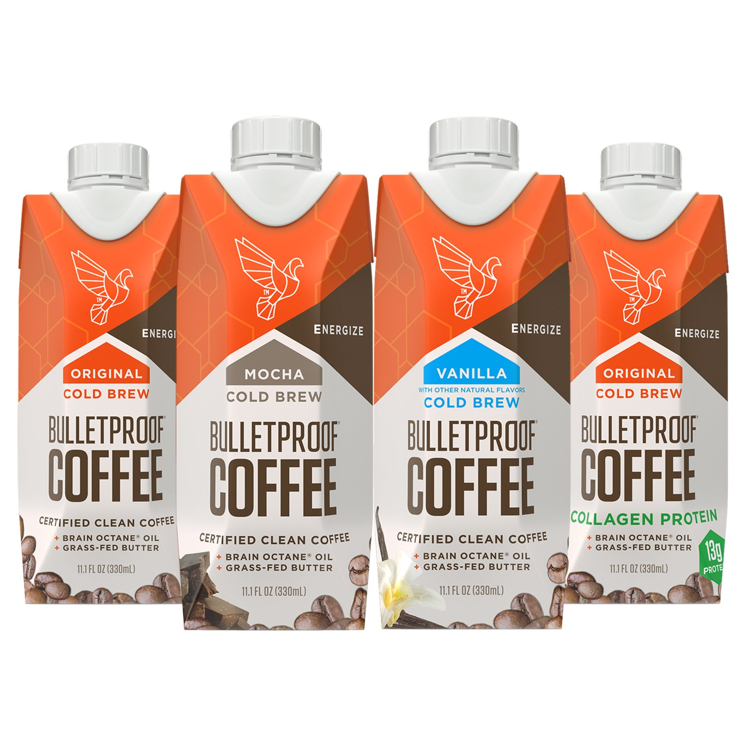 Bulletproof Coffee Cold Brew Ready to Drink Sampler- Ketogentic Diet, Sugar-Free, Includes Grass-Fed Butter and Brain Octane Oil, Flavors: Original, Mocha, Vanilla, and Original Plus Collagen (4 Pack)